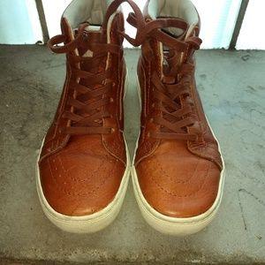Vans tan leather high tops